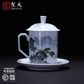 Holy big ceramic kung fu tea sample tea cup blue and white porcelain painting of flowers and chrysanthemum patterns cup set cup of jingdezhen tea service master