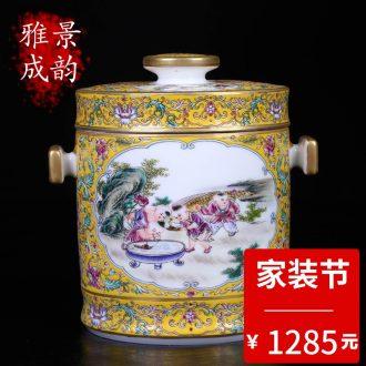 The general tank porcelain of jingdezhen porcelain enamel color restoring ancient ways lotus home sitting room TV ark adornment furnishing articles