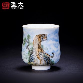 """Individual sample tea cup cup of jingdezhen ceramic hand-painted new colour """"the beauty of the four seasons"""" single cup all hand kung fu tea cups"""