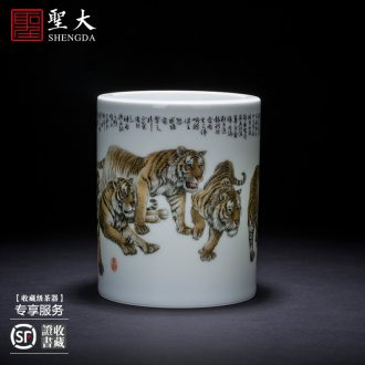 "Holy big ceramic brush pot large hand-painted color heavy new snow leopard figure hair brush pot ""four China jingdezhen"