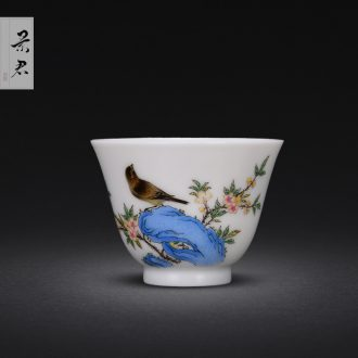 Jingdezhen hand-painted alum red color sample tea cup JingJun live long and prosper ceramic cups small master cup single cup