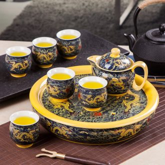 Was suit household modern jingdezhen ceramic kung fu tea cups contracted circular teapot tea tray package