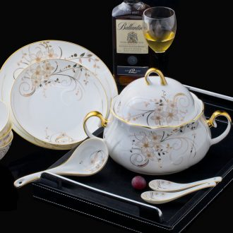 Jingdezhen high-grade bone China tableware suit dishes suit household European gold plate creative dishes chopsticks