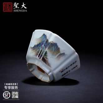 The big ceramic curios Hand draw heavy jingdezhen blue and white one hundred and eight ten cups set cups tea cups