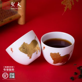 The big ceramic curios Hand painted blue treasure phase lines lie fa cup masters cup bowl jingdezhen tea sample tea cup