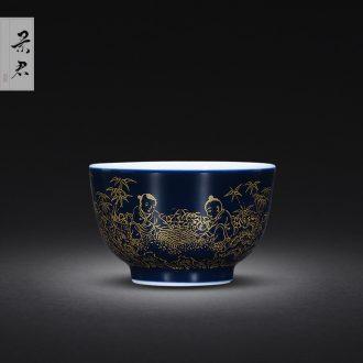 JingJun Jingdezhen ceramic hand-painted colored enamel paint cup White porcelain kung fu tea sample tea cup masters cup