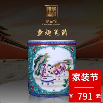 Jingdezhen ceramic pea green butterfly caddy home furnishing articles general tea store canned POTS