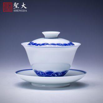 Blue and white moon holy big teapot hand-painted ceramic kung fu spirit finch figure teapot all hand jingdezhen tea pot