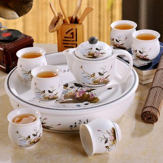 Jingdezhen ceramic tea set suit household of Chinese style kung fu tea ceremony round a cup of tea with tea tray cups of a complete set of the teapot
