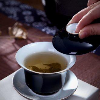 Holy big teapot archaize ceramic kung fu heavy jingdezhen blue and white landscape teapot hand-painted all hand tea sets