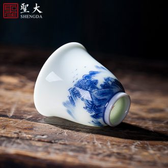 Kung fu master ceramic cups cup hand-painted sample tea cup hat to a cup of tea all hand jingdezhen blue and white porcelain tea set