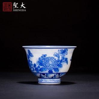 Holy big ceramic pot bearing tea tray hand-painted pastel CongJu double finch figure tea dry foam plate of jingdezhen tea service parts
