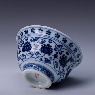 St the ceramic kung fu tea master cup jingdezhen blue and white paint heart sutra lie all hand foot sample tea cup tea sets