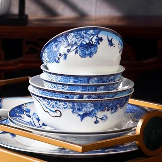 Jingdezhen ceramic bowl shadow blue sculpture porcelain tableware green glaze high white clay radio under the glaze color ikea bowl dishes dishes