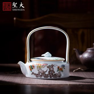 Holy big blue and white egrets teapot hand-painted ceramic kung fu poetry spherical filtering teapot manual of jingdezhen tea service