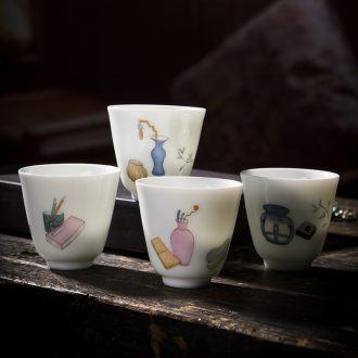 Holy big cup sample tea cup hand-painted ceramic kungfu celadon new color bamboo four single cup of jingdezhen tea service master cup