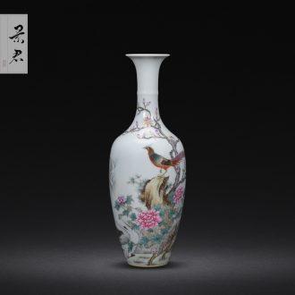 Jingdezhen hand-painted wooden stick bottle master porcelain vase furnishing articles ceramic sitting room decoration as ceramic flower vases