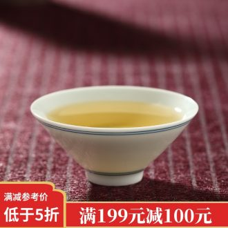 Drink to the blue and white porcelain sample tea cup hand-painted guest-greeting pine single master cup only Japanese kung fu tea set a single small tea cups