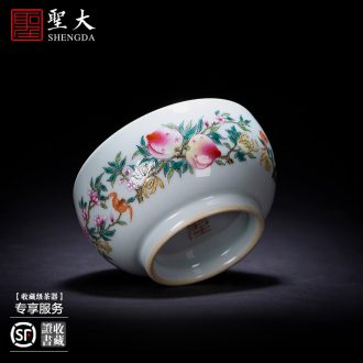 Holy big blue treasure inside teacups hand-painted ceramic kung fu phase colored enamel butterfly lie fa cup manual of jingdezhen tea service
