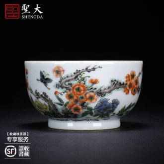 Santa teacups hand-painted ceramic kungfu archaize yongle blue pressure hand cup cup all hand of jingdezhen tea service master