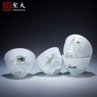 Santa teacups hand-painted ceramic kung fu eight mountain man solitary birds of blue and white porcelain figure single cup cup of jingdezhen tea service master