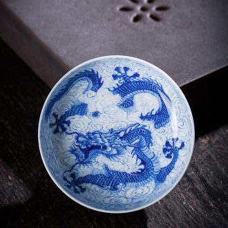 St the ceramic kung fu tea master cup hand-painted jingdezhen blue and white landscape perfectly playable cup tea sample tea cup by hand