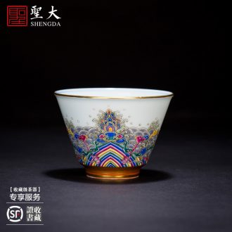 Holy big three to tureen teacups hand-painted ceramic antique blue-and-white eight auspicious grain tea bowl of jingdezhen kung fu tea set