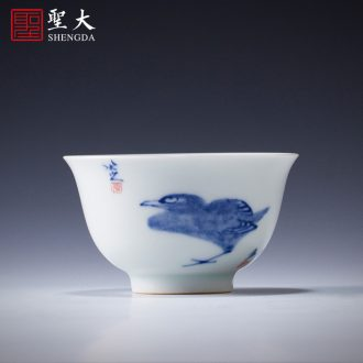 Holy big ceramic kung fu tea set of a complete set of hand draw luck 8 head teapot set of jingdezhen blue and white porcelain and exquisite