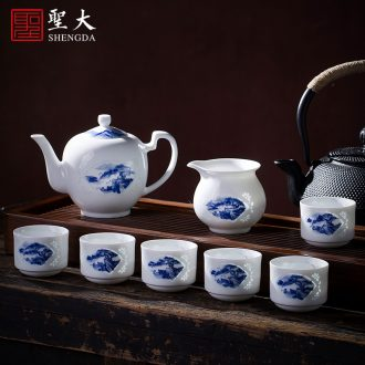 Holy big ceramic kung fu masters cup hand-painted porcelain cups water lotus pattern sample tea cup manual of jingdezhen tea service