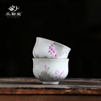 Three frequently hand-painted kiln master cup single cup Jingdezhen ceramic tea set sample tea cup cup S42163 kung fu