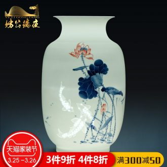 Jingdezhen ceramics vase furnishing articles flower arranging bamboo cool breeze sitting room adornment furnishing articles of new Chinese style household