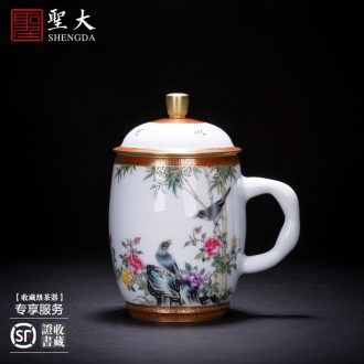 The large ceramic three tureen teacups hand-painted jingdezhen blue and white flower grain tea bowl bound branches all hand tea sets