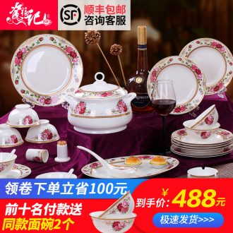 Home dishes suit bone porcelain tableware suit jingdezhen Chinese dishes suit dishes household portfolio with a gift