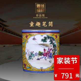 Restoring ancient ways of jingdezhen ceramic powder wariety pen container office furnishing articles home decorative arts and crafts opening gifts teachers