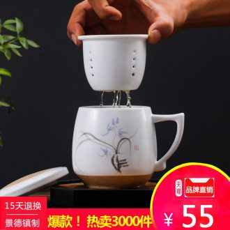 Ceramic mug cup with cover meeting office hotel 10 sets jingdezhen domestic cups cups not purple