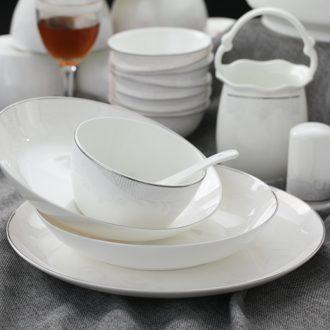 The colour bone porcelain tableware suit Jingdezhen ceramic dishes set porcelain dishes High-class european-style gifts home