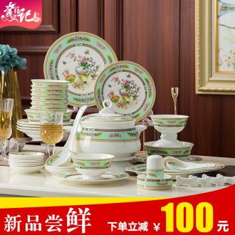 Dishes and cutlery set 60 head paint by hand bone porcelain tableware Chinese rural household ceramic bowl dish dish sets
