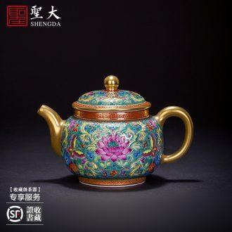 Kung fu tea sample tea cup hand-painted ceramic powder enamel figure five DE cock in cup all hand of jingdezhen tea service master