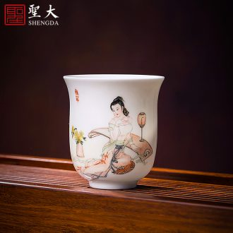 Tureen ceramic cups large three to kung fu tea bowl bowl hand jingdezhen pure hand draw blue and white porcelain tea set