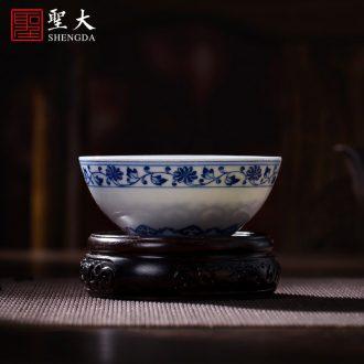 Santa teacups hand-painted ceramic kungfu amethyst glaze blue lion as master sample tea cup jingdezhen tea service