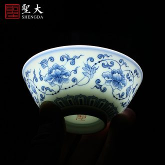 Santa teacups hand-painted ceramic kungfu pastel Jiang Shanke - lie fa cup master cup sample tea cup of jingdezhen tea service