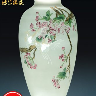 Jingdezhen ceramics vase archaize qianlong powder blue glaze colour gall bladder Chinese style household decorates porch place