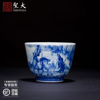 "New color sample tea cup of jingdezhen ceramics hand-painted master cup ""four love figure"" personal hand kung fu tea cups"
