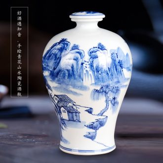 Hand-painted bottle bottle is blue and white porcelain of jingdezhen ceramic art sealed jars bubble bottle wine 15 kg