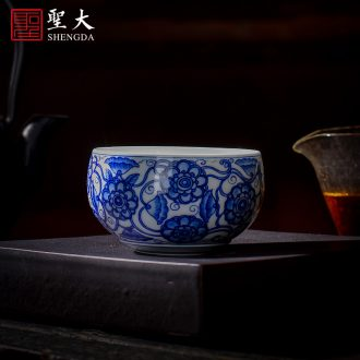 Holy big ceramic antique doucai bucket color flowers butterfly tattoo cup kung fu tea cups all hand of jingdezhen tea service