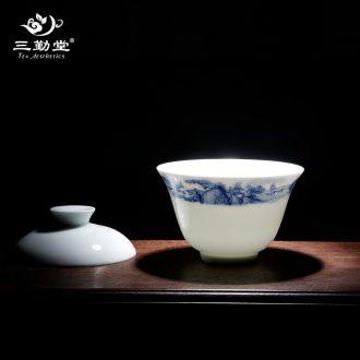 Three frequently hall blue and white porcelain tea set Jingdezhen ceramic kung fu tea tureen tea tea S13004