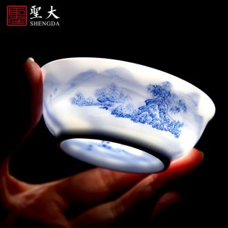 Holy big ceramic pot bearing new color landscape dry bubble tea tray hand-painted plate saucer all hand fittings of jingdezhen tea service