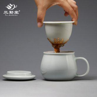 Three frequently hall sample tea cup of jingdezhen ceramic kung fu tea set celadon noggin master cup single cup tea pu-erh tea