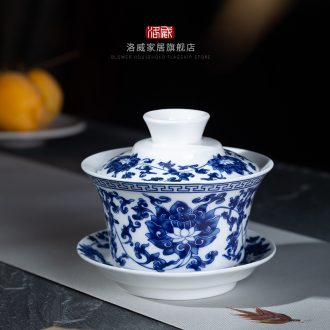 Jingdezhen kung fu tea set square household solid wood tea tray drawer drainage water tea tea saucer