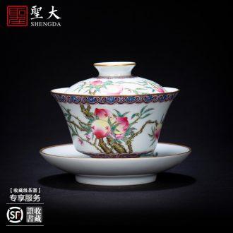 Santa teacups hand-painted ceramic kungfu antique blue-and-white edging pastel fold branch melon sample tea cup of jingdezhen tea service